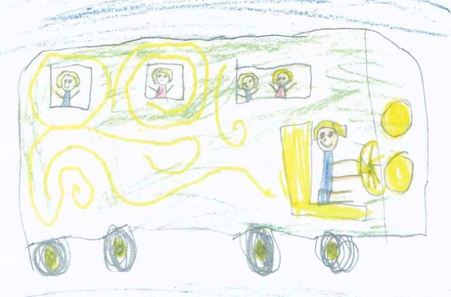 Childrens drawing of bus