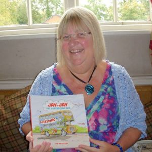 Sue Wickstead with new book Jay-Jay the supersonic bus