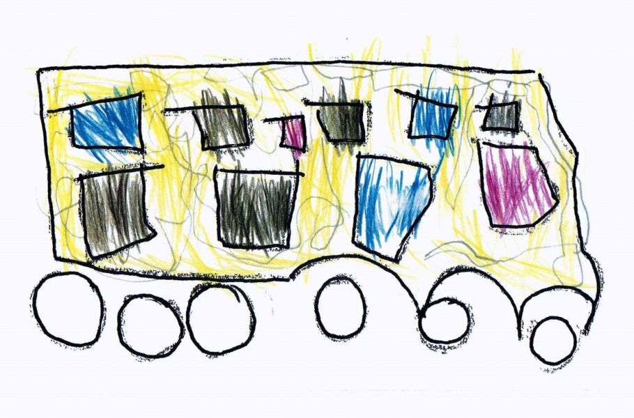 children drawn buses