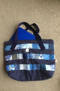 Blue laptop quilt bag